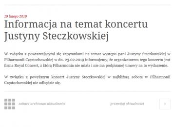 Informacja na temat koncertu Justyny Steczkowskiej