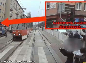 Kobieta w ciąży wbiegła pod tramwaj. Zobacz moment wypadku. Ku przestrodze nagranie udostępnia MPK w Częstochowie