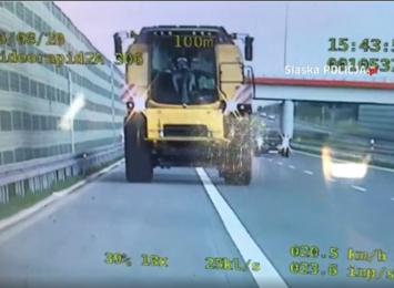 Kierowca jechał kombajnem po A1