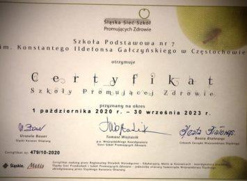Szkoła Podstawowa nr 7 z certyfikatem za promowanie zdrowia