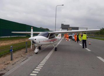 Awaryjnie lądowała awionetka na A1 koło Częstochowy. Nikomu nic się nie stało
