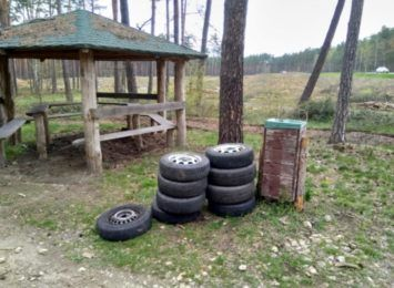 """Do lasu wyrzucamy już nie tylko """"domowe śmieci"""". Leśnicy znaleźli porzucone opony"""