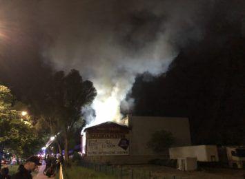Pożar składu budowlanego przy alei Bohaterów Monte Cassino