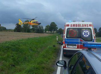 Wypadek z udziałem motocyklisty na DK46 w Gwoździanach. Na miejscu lądował śmigłowiec LPR