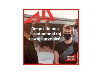 Wolna Szkoła - w Częstochowie protest z okazji Dnia Nauczyciela
